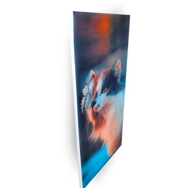 Adorable cat print on acoustic felt panel - side view