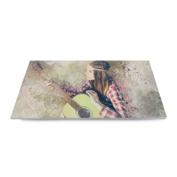 Beautiful girl with guitar print on acoustic felt panel